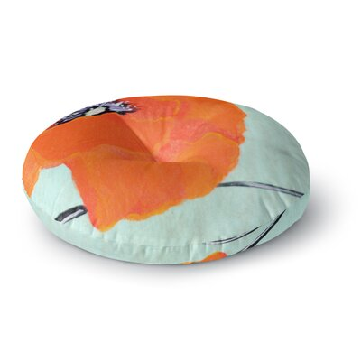 Christen Treat Vintage Poppy Flower Round Floor Pillow Size: 26 x 26