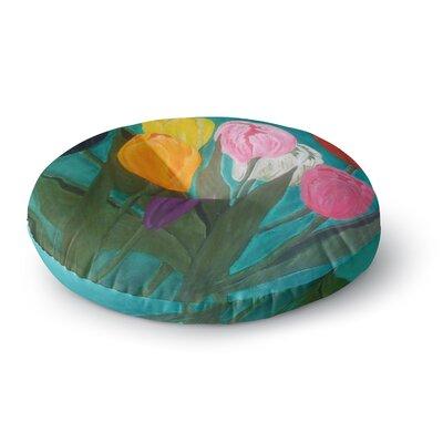 Christen Treat Tulips Rainbow Flower Round Floor Pillow Size: 23 x 23
