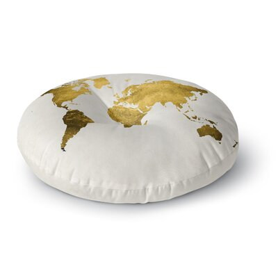 Chelsea Victoria Wild World Travel Painting Round Floor Pillow Size: 23 x 23, Color: Gold
