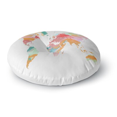 Chelsea Victoria Wild World Travel Painting Round Floor Pillow Size: 23 x 23, Color: Pink
