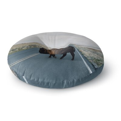 Chelsea Victoria Buffalo Crossing Animals Photography Round Floor Pillow Size: 23 x 23