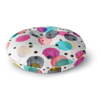 Crystal Walen Festive Watercolor Dots Round Floor Pillow Size: 23 x 23