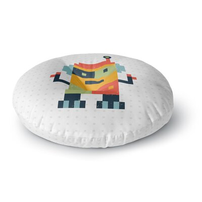 Daisy Beatrice Happy Robot Round Floor Pillow Size: 26 x 26