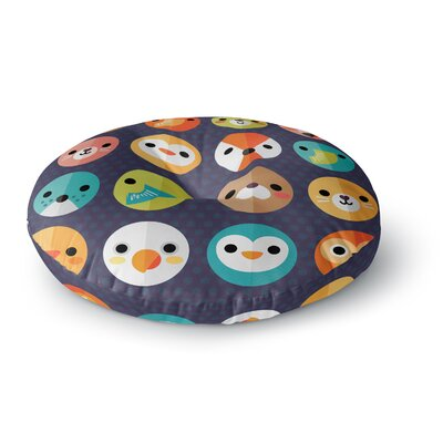 Daisy Beatrice Smiley Faces Animals Round Floor Pillow Size: 26 x 26