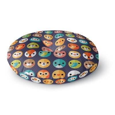 Daisy Beatrice Smiley Faces Repeat Animal Pattern Round Floor Pillow Size: 23 x 23