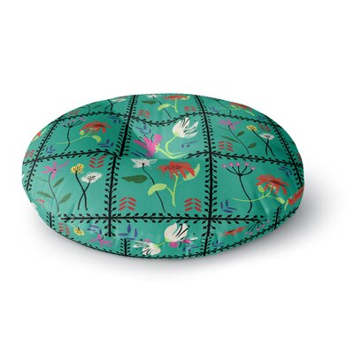 DLKG Design Simple Garden Tiles Floral Round Floor Pillow Size: 23 x 23