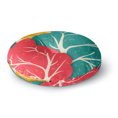 Danny Ivan Happy Forest Trees Round Floor Pillow Size: 23 x 23