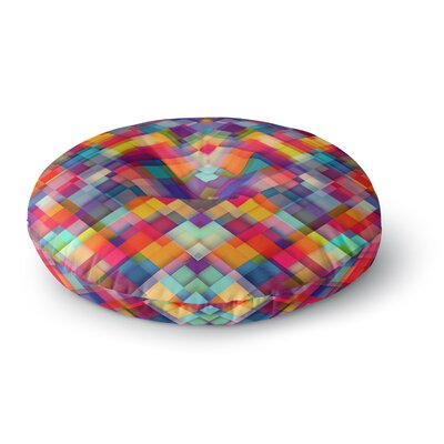 Danny Ivan Squares Everywhere Rainbow Shapes Round Floor Pillow Size: 26 x 26
