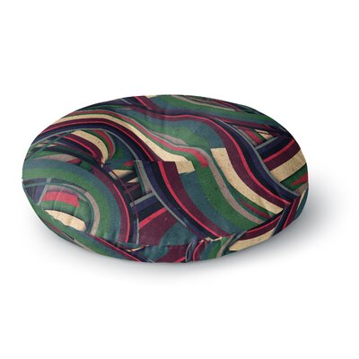 Danny Ivan Swirl Madness Dark Geometric Round Floor Pillow Size: 23 x 23
