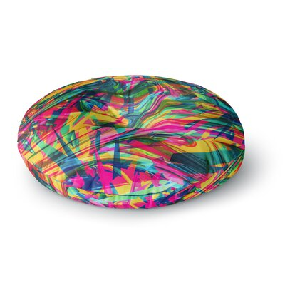 Danny Ivan Wild Abstract Rainbow Illustration Round Floor Pillow Size: 26 x 26