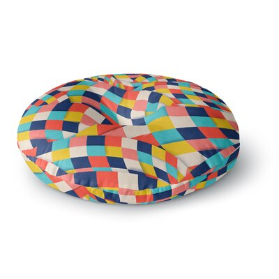Danny Ivan Curved Squares Round Floor Pillow Size: 23 x 23