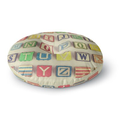Debbra Obertanec Vintage ABCs Wooden Letters Round Floor Pillow Size: 23 x 23