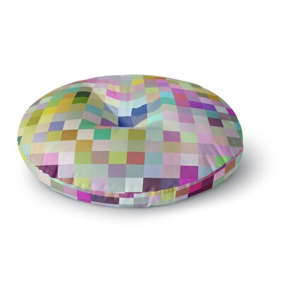 Dawid Roc Colorful Pixels Round Floor Pillow Size: 23 x 23