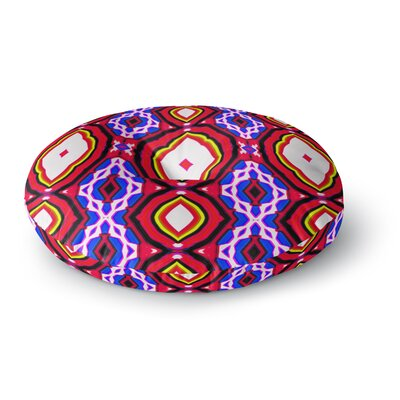 Dawid Roc Inspired by Psychedelic Art 3 Abstract Round Floor Pillow Size: 23 x 23, Color: Red/Purple