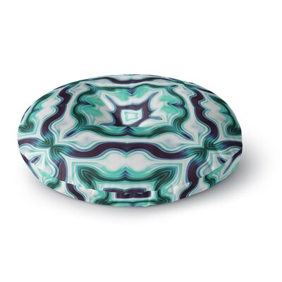 Dawid Roc Vintage Flower Pattern 3 Abstract Round Floor Pillow Size: 26 x 26, Color: Green