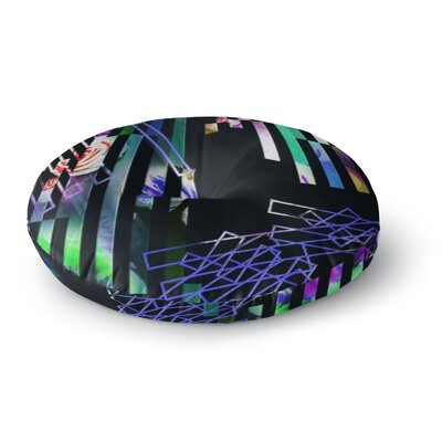 Dawid Roc Geometric Stripes Abstract Stripes Round Floor Pillow Size: 26 x 26
