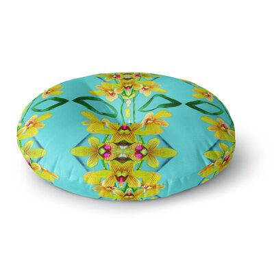 Dawid Roc Tropical Floral Orchids 3 Floral Round Floor Pillow Size: 26 x 26, Color: Teal/Yellow