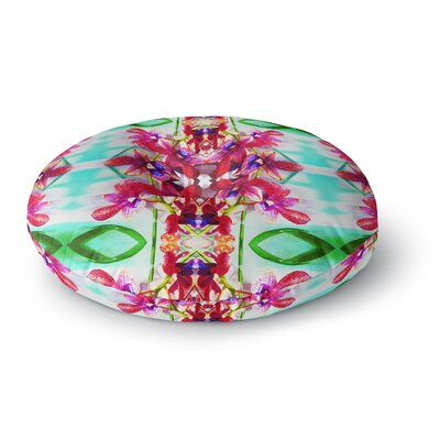 Dawid Roc Tropical Floral Orchids 2 Floral Round Floor Pillow Size: 23 x 23