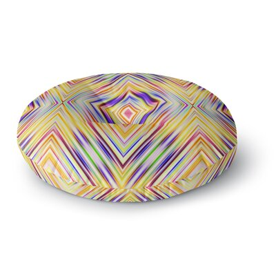 Dawid Roc Modern Tribal Round Floor Pillow Size: 26 x 26, Color: Yellow/Purple