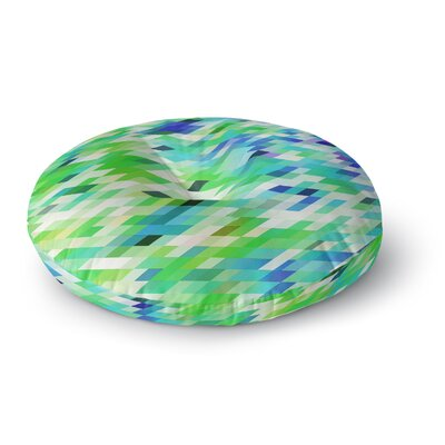 Dawid Roc Spring Summer Geometric Digital Round Floor Pillow Size: 26 x 26, Color: Green