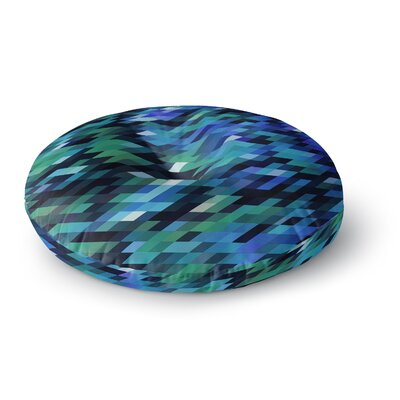 Dawid Roc Spring Summer Geometric Digital Round Floor Pillow Size: 26 x 26, Color: Blue