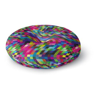 Dawid Roc Colorful Geometric Movement 1 Abstract Round Floor Pillow Size: 26