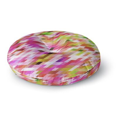 Dawid Roc Spring Summer Geometric Digital Round Floor Pillow Size: 23 x 23, Color: Pink