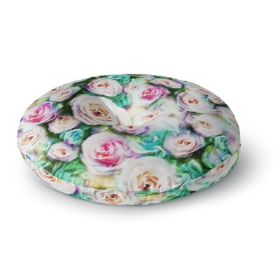 Dawid Roc Bright Rose Floral Abstract Floral Round Floor Pillow Size: 23 x 23