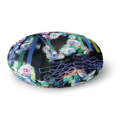 Dawid Roc Colorful Rose Floral Geometric Round Floor Pillow Size: 26 x 26, Color: Blue/Green