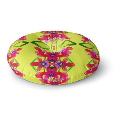 Dawid Roc Tropical Floral Orchids 3 Floral Round Floor Pillow Size: 26 x 26, Color: Yellow/Red