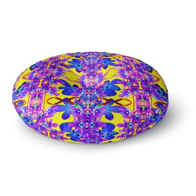 Dawid Roc Tropical Orchid Floral 3 Round Floor Pillow Size: 26 x 26, Color: Purple/Blue/Yellow