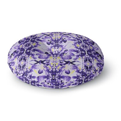 Dawid Roc Tropical Orchid Floral 3 Round Floor Pillow Size: 26 x 26, Color: Purple/Gray