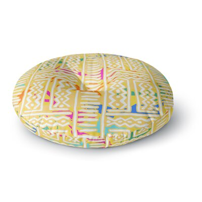 Dan Sekanwagi Lines and Zigzags Colorful Tribal Round Floor Pillow Size: 23 x 23