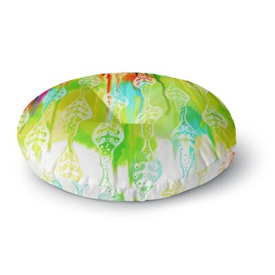 Dan Sekanwagi Seeds of Unity Variety Paint Round Floor Pillow Size: 23 x 23, Color: Green/Aqua