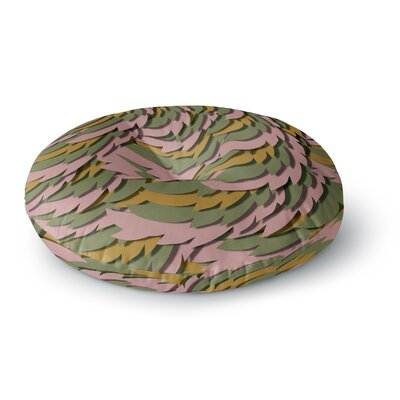 Akwaflorell Wings Round Floor Pillow Size: 23 x 23, Color: Pink/Yellow