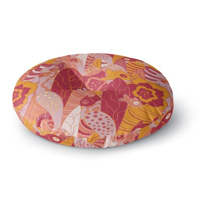 Akwaflorell Fishes Here, Fishes There III Orange Round Floor Pillow Size: 26 x 26
