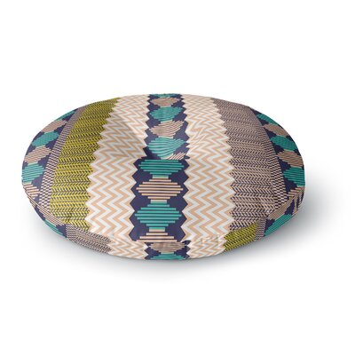 Akwaflorell Knitted 3 Round Floor Pillow Size: 26 x 26, Color: Yellow/Blue