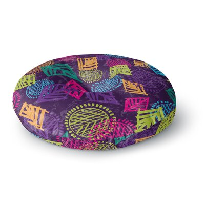 Emine Ortega African Beat Round Floor Pillow Size: 23 x 23, Color: Purple