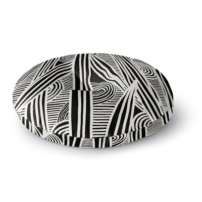 Emine Ortega Graphique Round Floor Pillow Size: 23 x 23, Color: Black