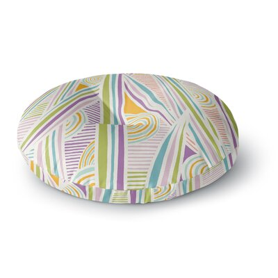 Emine Ortega Graphique Round Floor Pillow Size: 26 x 26, Color: White