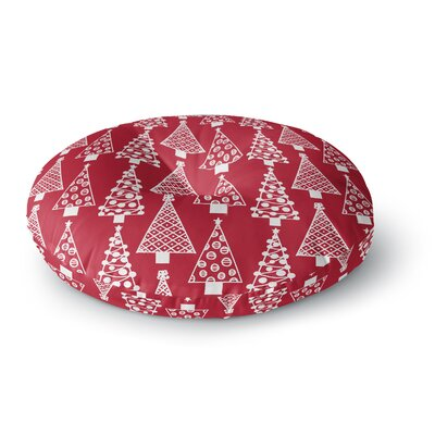 Emine Ortega Jolly Trees Royal Round Floor Pillow Size: 23 x 23, Color: Red