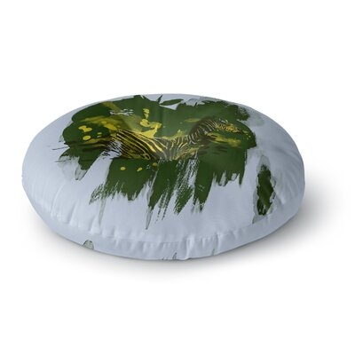 Frederic Levy-Hadida Watercolored Zebra Round Floor Pillow Size: 23 x 23, Color: Green