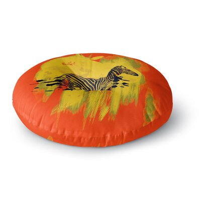 Frederic Levy-Hadida Watercolored Zebra Round Floor Pillow Size: 23 x 23, Color: Red