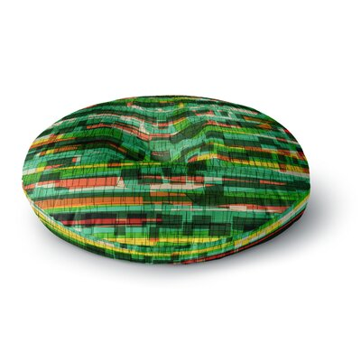 Frederic Levy-Hadida Squares Traffic Green Round Floor Pillow Size: 26 x 26, Color: Green
