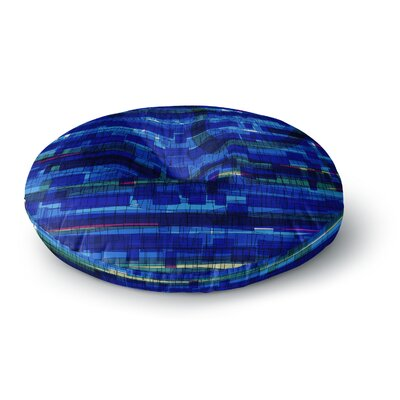 Frederic Levy-Hadida Squares Traffic Green Round Floor Pillow Size: 23 x 23, Color: Blue