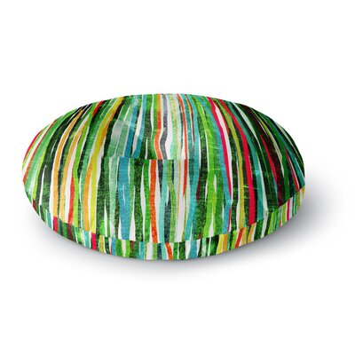 Frederic Levy-Hadida Fancy Stripes Round Floor Pillow Size: 26 x 26, Color: Green