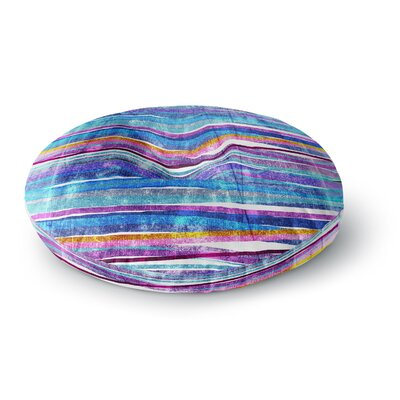 Frederic Levy-Hadida Fancy Stripes Round Floor Pillow Size: 26 x 26, Color: Dark Blue