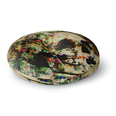 Frederic Levy-Hadida Floral Skully Round Floor Pillow Size: 26 x 26