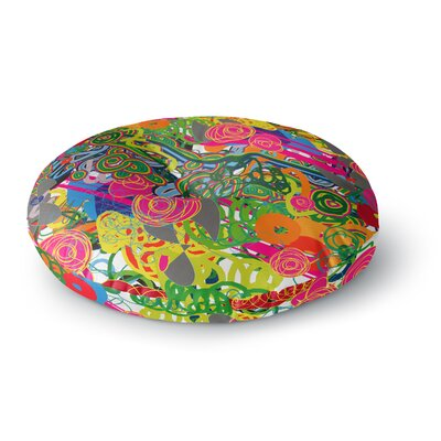 Frederic Levy-Hadida Psychedelic Garden Round Floor Pillow Size: 26 x 26