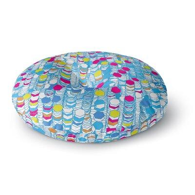 Frederic Levy-Hadida Color Hiving Abstract Round Floor Pillow Size: 23 x 23, Color: Blue/White